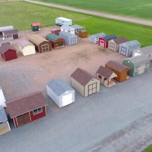 Portable Shed Manufacturing Facility Lot In Wisconsin