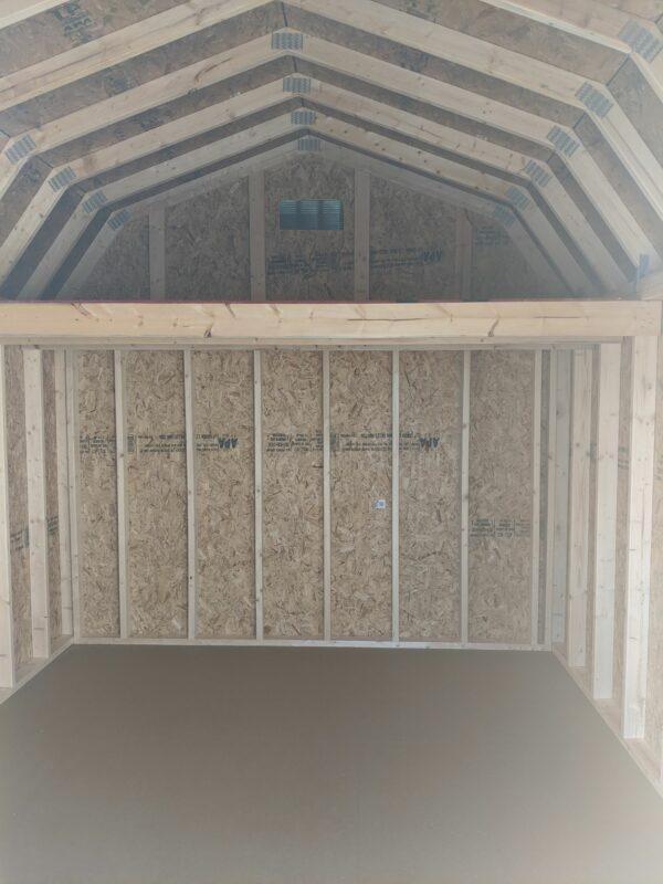 10x12 Portable Lofted Dutch Barn Storage Shed inside loft
