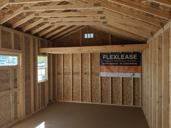 12x20 Quaker Style Storage Shed inside loft left