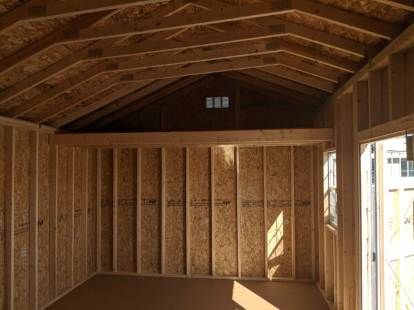 12x20 Quaker Style Storage Shed inside loft right