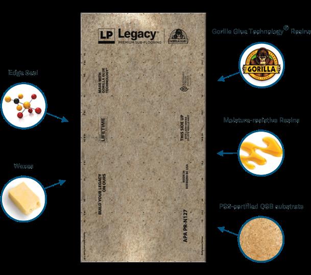 34 LP LEGACY® Premium Sub Flooring Includes Moisture Resistance Gorilla Glue Technology® (Stiffest in Class)